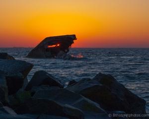 Cape May Point - Sunset Beach sunset (thru the concrete ship) - 20140320-DSC_0139 - 20140320_