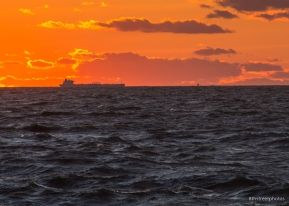 tanker at sunset